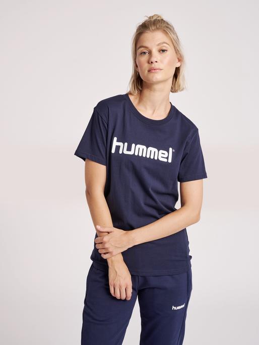 HUMMEL GO COTTON LOGO T-SHIRT WOMAN S/S, MARINE, model