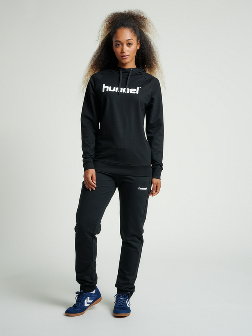 HUMMEL GO COTTON LOGO HOODIE WOMAN, BLACK, model