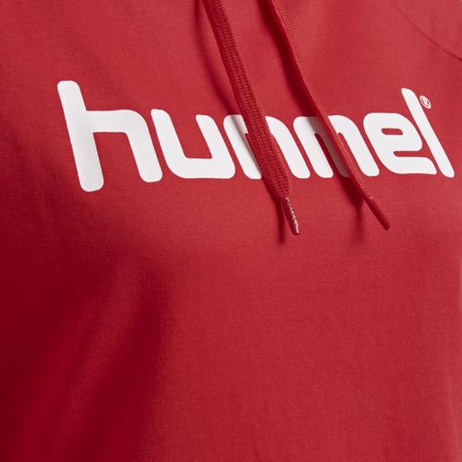 HUMMEL GO COTTON LOGO HOODIE WOMAN, TRUE RED, packshot