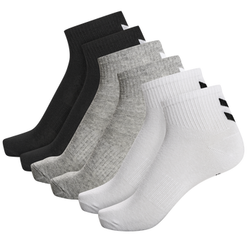 hmlCHEVRON 6-PACK MID CUT SOCKS, WHITE/BLACK/GREY, packshot