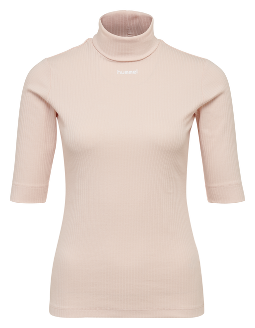 hmlCAROLINE RIB TURTLENECK S/S, CLOUD PINK, packshot