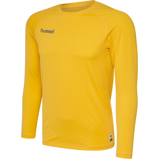 HUMMEL FIRST PERFORMANCE KIDS JERSEY L/S, SPORTS YELLOW, packshot