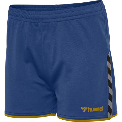 hmlAUTHENTIC POLY SHORTS WOMAN, TRUE BLUE/SPORTS YELLOW, packshot