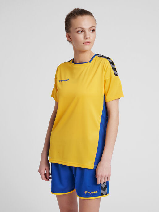 hmlAUTHENTIC POLY JERSEY WOMAN S/S, SPORTS YELLOW/TRUE BLUE, model