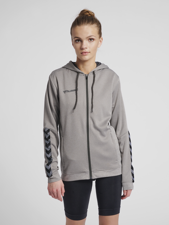 hmlAUTHENTIC POLY ZIP HOODIE WOMAN, GREY MELANGE, model