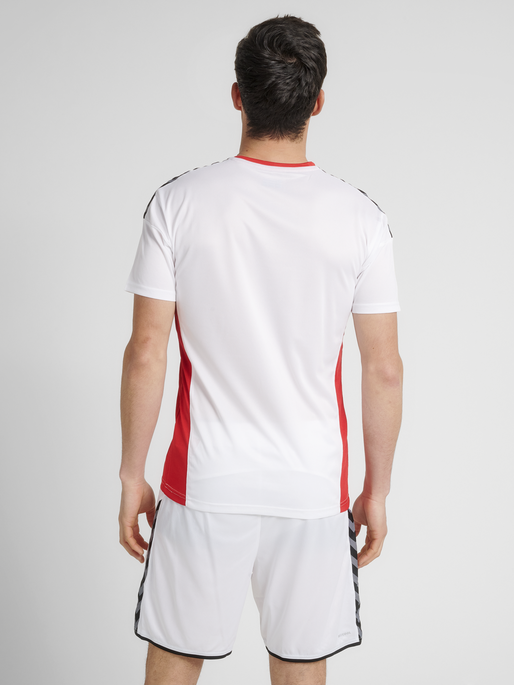 hmlAUTHENTIC POLY JERSEY S/S, WHITE/TRUE RED, model
