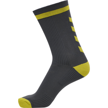hmlACTION INDOOR SOCK LOW, APSHALT/SAFETY YELLOW, packshot