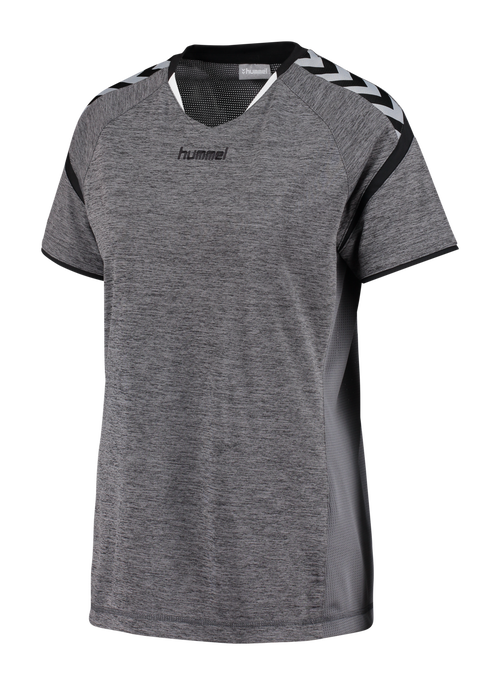 AUTHENTIC CHARGE SS POLY JERSEY WOMAN, DARK GREY MELANGE, packshot