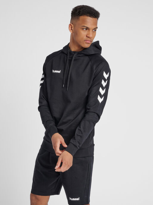 HUMMEL GO COTTON HOODIE, BLACK, model