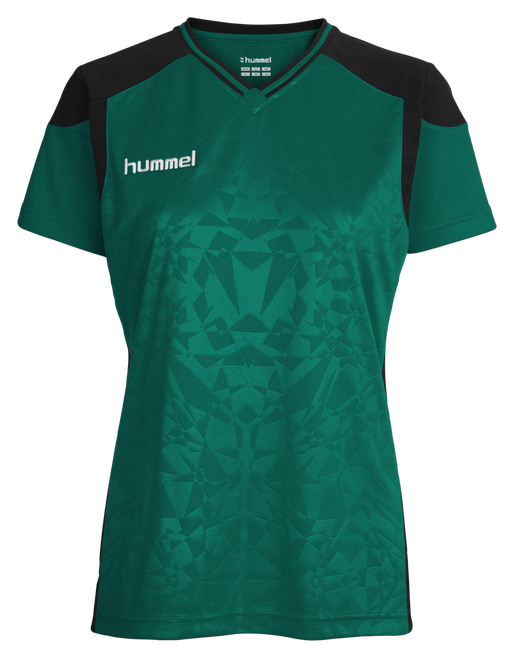 HUMMEL SIRIUS SS JERSEY WOMEN, EVERGREEN/BLACK, packshot