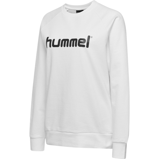 HUMMEL GO COTTON LOGO SWEATSHIRT WOMAN, WHITE, packshot