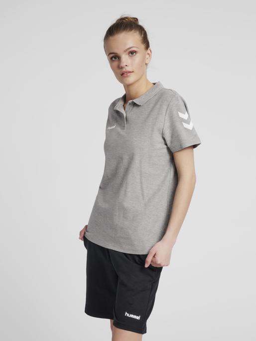 HUMMEL GO COTTON POLO WOMAN, GREY MELANGE, model