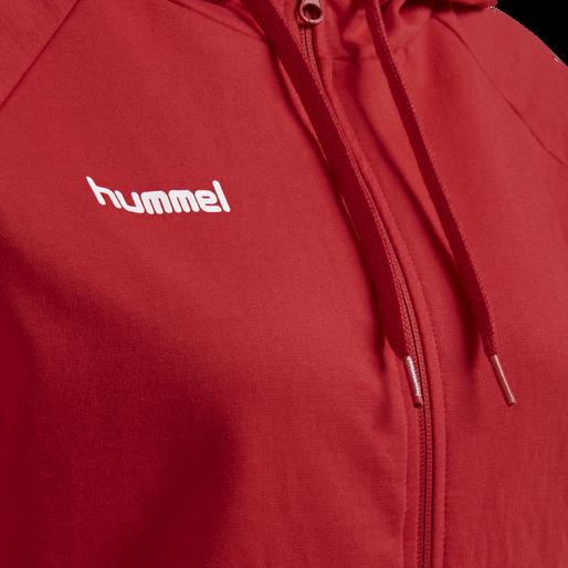 HUMMEL GO COTTON ZIP HOODIE WOMAN, TRUE RED, packshot
