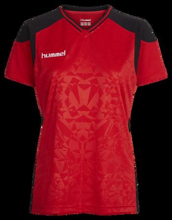HUMMEL SIRIUS SS JERSEY WOMEN, TRUE RED/BLACK, packshot