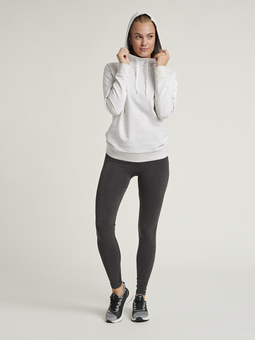 HUMMEL GO COTTON HOODIE WOMAN, EGRET MELANGE, model