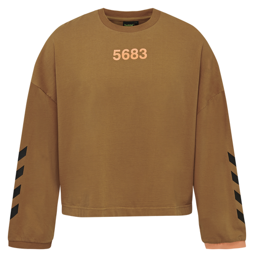 hmlWILLY RUFF NECK T-SHIRT L/S, TOBACCO BROWN, packshot