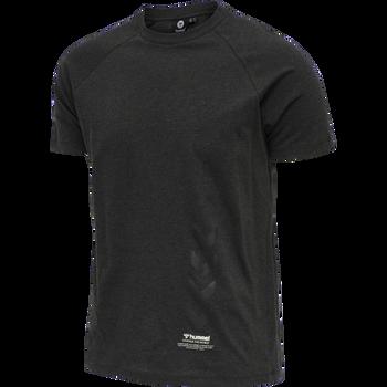 hmlCALEB T-SHIRT, BLACK MELANGE, packshot