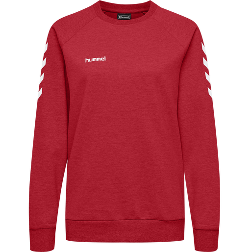 HUMMEL GO COTTON SWEATSHIRT WOMAN, TRUE RED, packshot