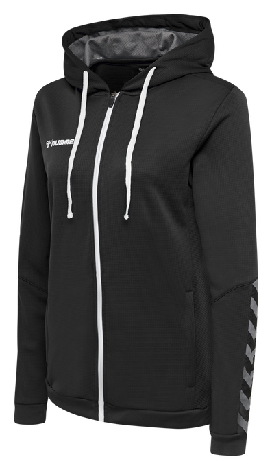 hmlAUTHENTIC POLY ZIP HOODIE WOMAN, BLACK/WHITE, packshot