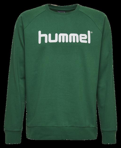 HUMMEL GO COTTON LOGO SWEATSHIRT, EVERGREEN, packshot