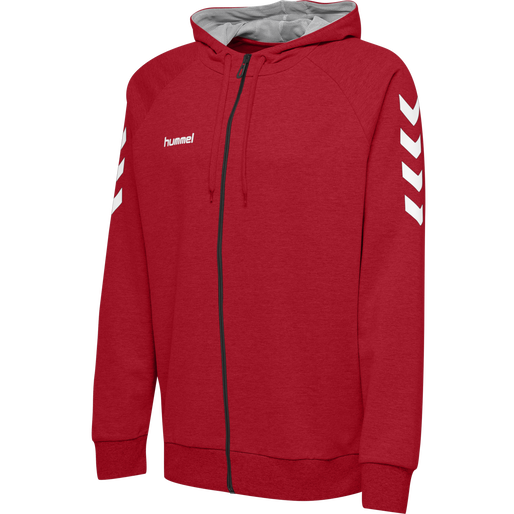 HUMMEL GO COTTON ZIP HOODIE, TRUE RED, packshot