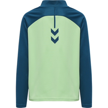 hmlACTION HALF ZIP SWEAT KIDS, BLUE CORAL/GREEN ASH, packshot