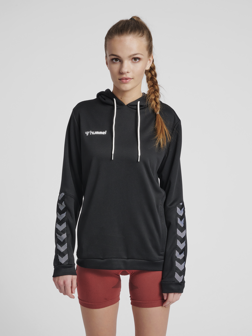 hmlAUTHENTIC POLY HOODIE WOMAN, BLACK/WHITE, model