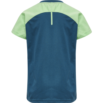 hmlACTION COTTON T-SHIRT KIDS, BLUE CORAL/GREEN ASH, packshot