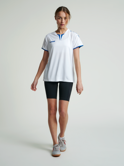 CORE WOMENS SS JERSEY, WHITE/TRUE BLUE, model