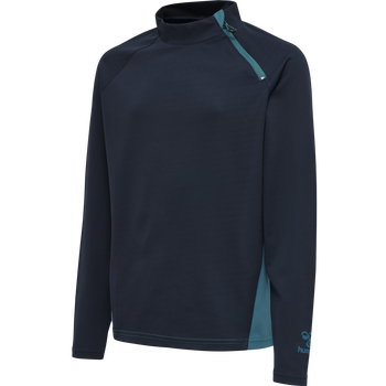 hmlACTION HALF ZIP SWEAT KIDS, DARK SAPPHIRE/BLUE CORAL, packshot