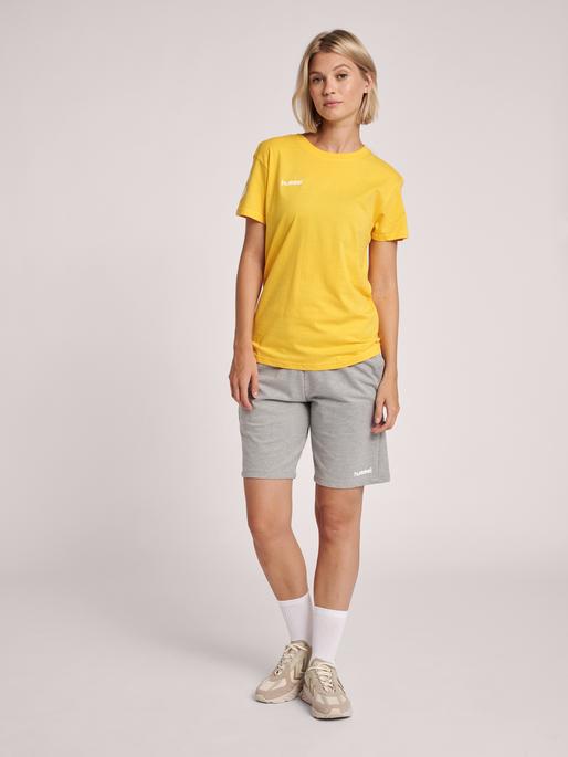 HUMMEL GO COTTON T-SHIRT WOMAN S/S, SPORTS YELLOW, model