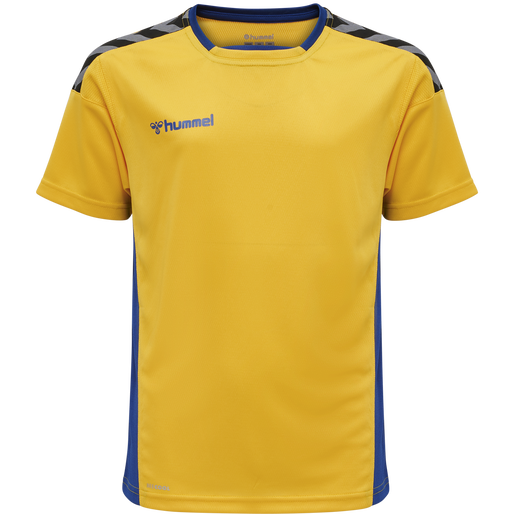 hmlAUTHENTIC KIDS POLY JERSEY S/S, SPORTS YELLOW/TRUE BLUE, packshot
