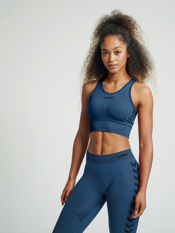 HUMMEL FIRST SEAMLESS BRA WOMEN, DARK DENIM, model