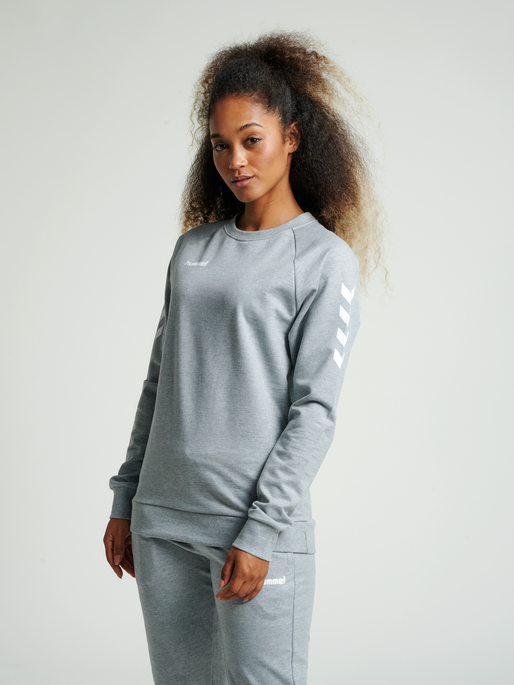 HUMMEL GO COTTON SWEATSHIRT WOMAN, GREY MELANGE, model