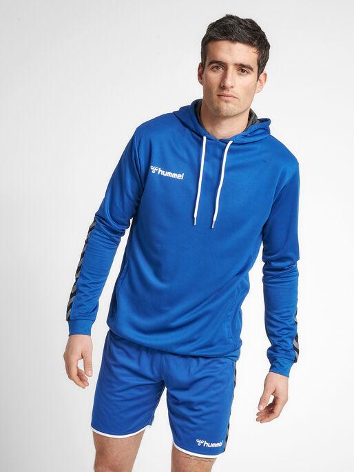 hmlAUTHENTIC POLY HOODIE, TRUE BLUE, model