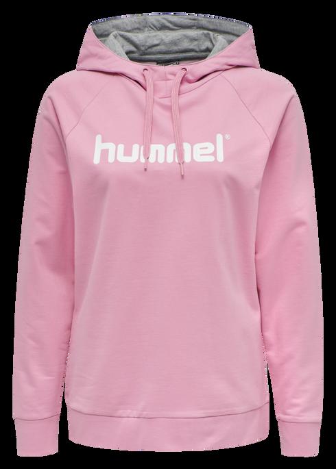 HUMMEL GO COTTON LOGO HOODIE WOMAN, COTTON CANDY, packshot