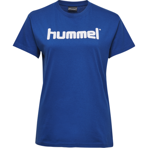HUMMEL GO COTTON LOGO T-SHIRT WOMAN S/S, TRUE BLUE, packshot