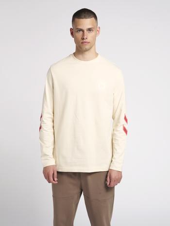 hmlDANIEL T-SHIRT L/S, BONE WHITE, model