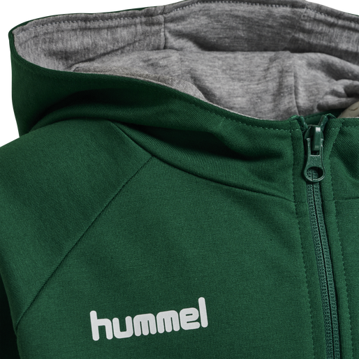 HUMMEL GO KIDS COTTON ZIP HOODIE, EVERGREEN, packshot