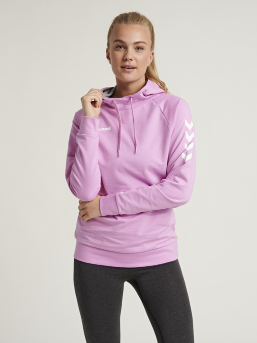 HUMMEL GO COTTON HOODIE WOMAN, ORCHID, model
