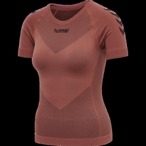 HUMMEL FIRST SEAMLESS JERSEY S/S WOMAN, MARSALA, packshot