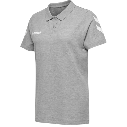 HUMMEL GO COTTON POLO WOMAN, GREY MELANGE, packshot