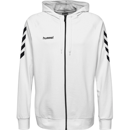 HUMMEL GO COTTON ZIP HOODIE, WHITE, packshot