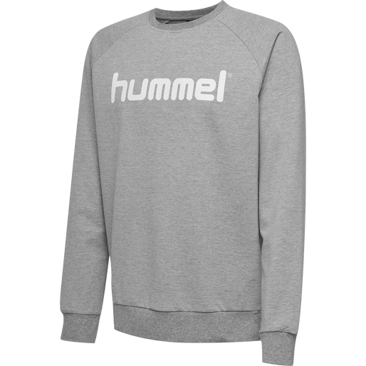 HUMMEL GO COTTON LOGO SWEATSHIRT, GREY MELANGE, packshot