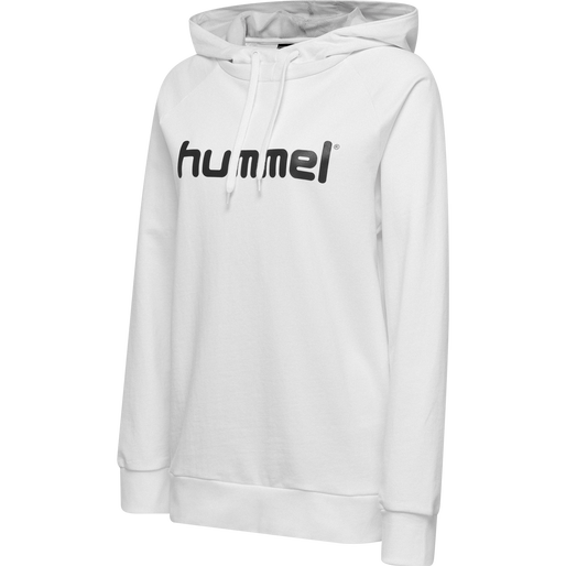 HUMMEL GO COTTON LOGO HOODIE WOMAN, WHITE, packshot