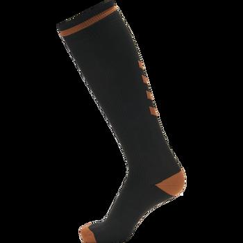 ELITE INDOOR SOCK HIGH, BLACK/ORANGE TIGER, packshot
