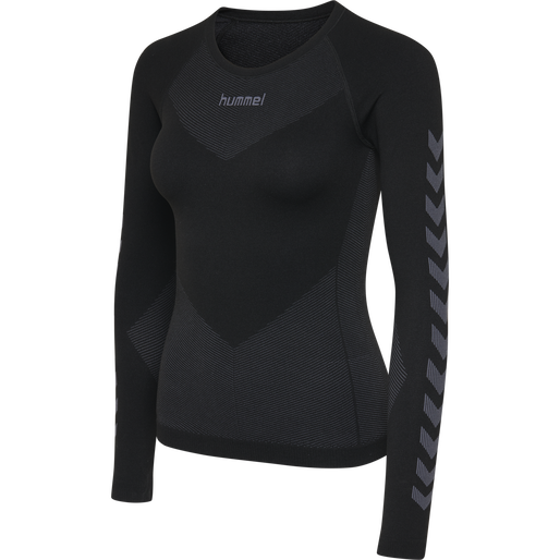HUMMEL FIRST SEAMLESS JERSEY L/S WOMAN, BLACK, packshot