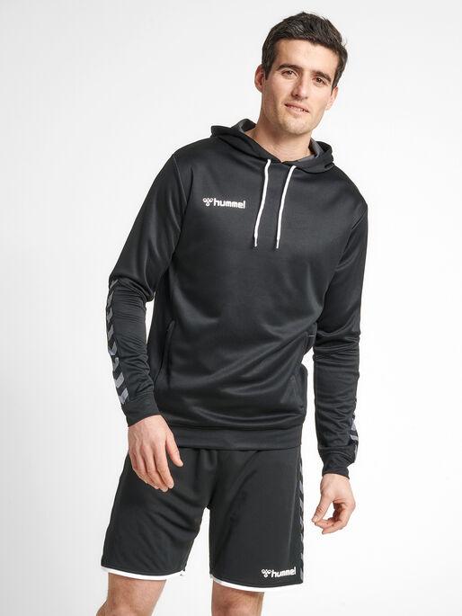 hmlAUTHENTIC POLY HOODIE, BLACK/WHITE, model