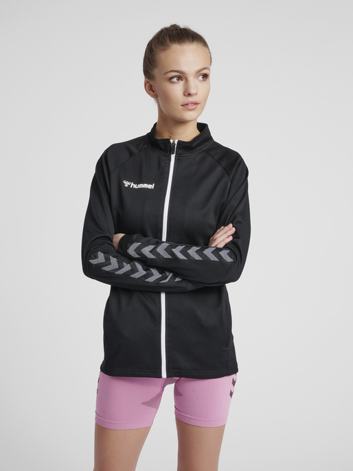 hmlAUTHENTIC HALF ZIP SWEATSHIRT WOMAN, BLACK/WHITE, model