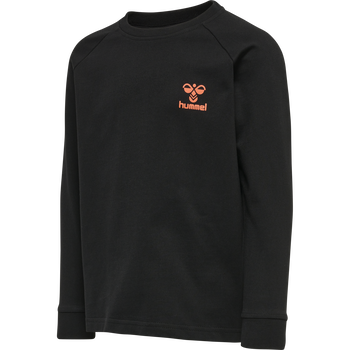 hmlACTION COTTON SWEATSHIRT KIDS, BLACK/FIESTA, packshot